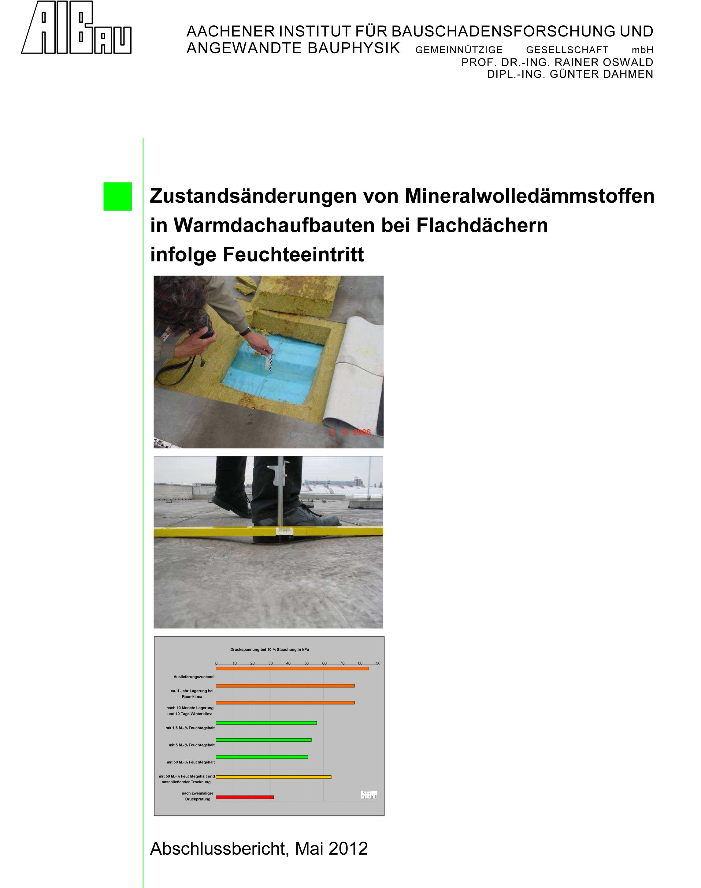 Zustandsänderung von Mineralwolledämmstoffen in Wärmedächern bei Flachdächern infolge Feuchteeintritt