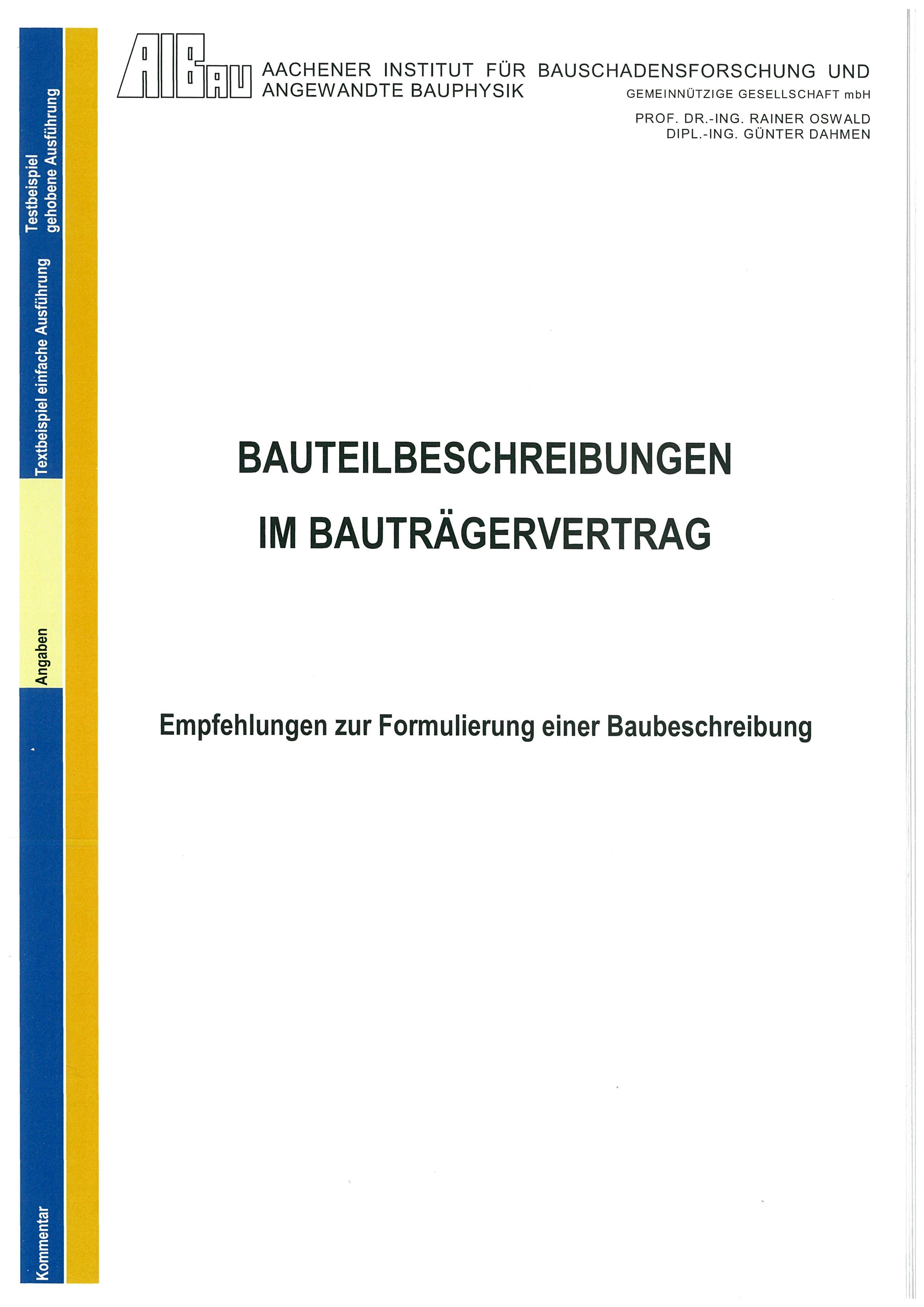 Bauteilbeschreibung im Bauträgervertrag