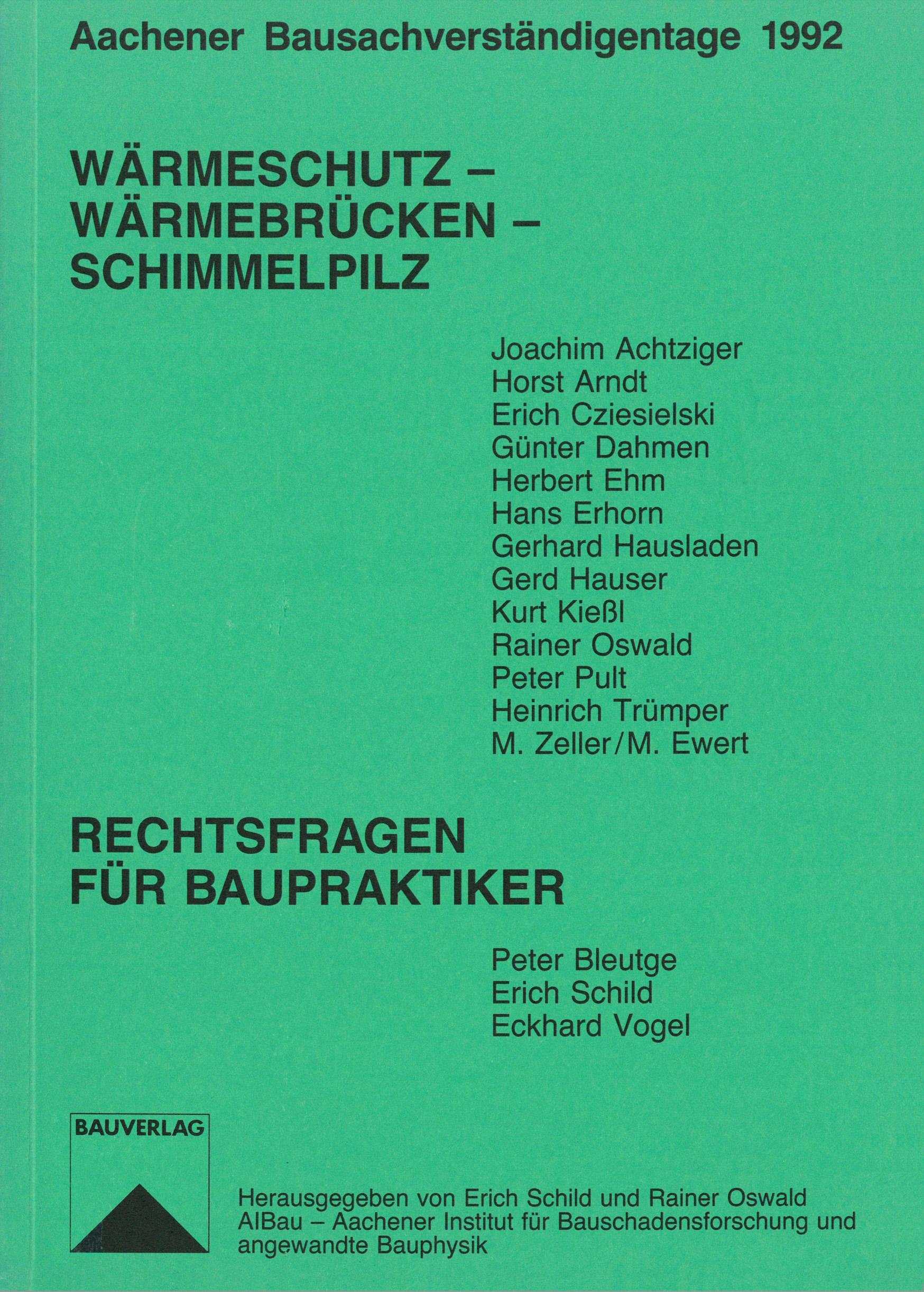 Wärmeschutz – Wärmebrücken – Schimmelpilz