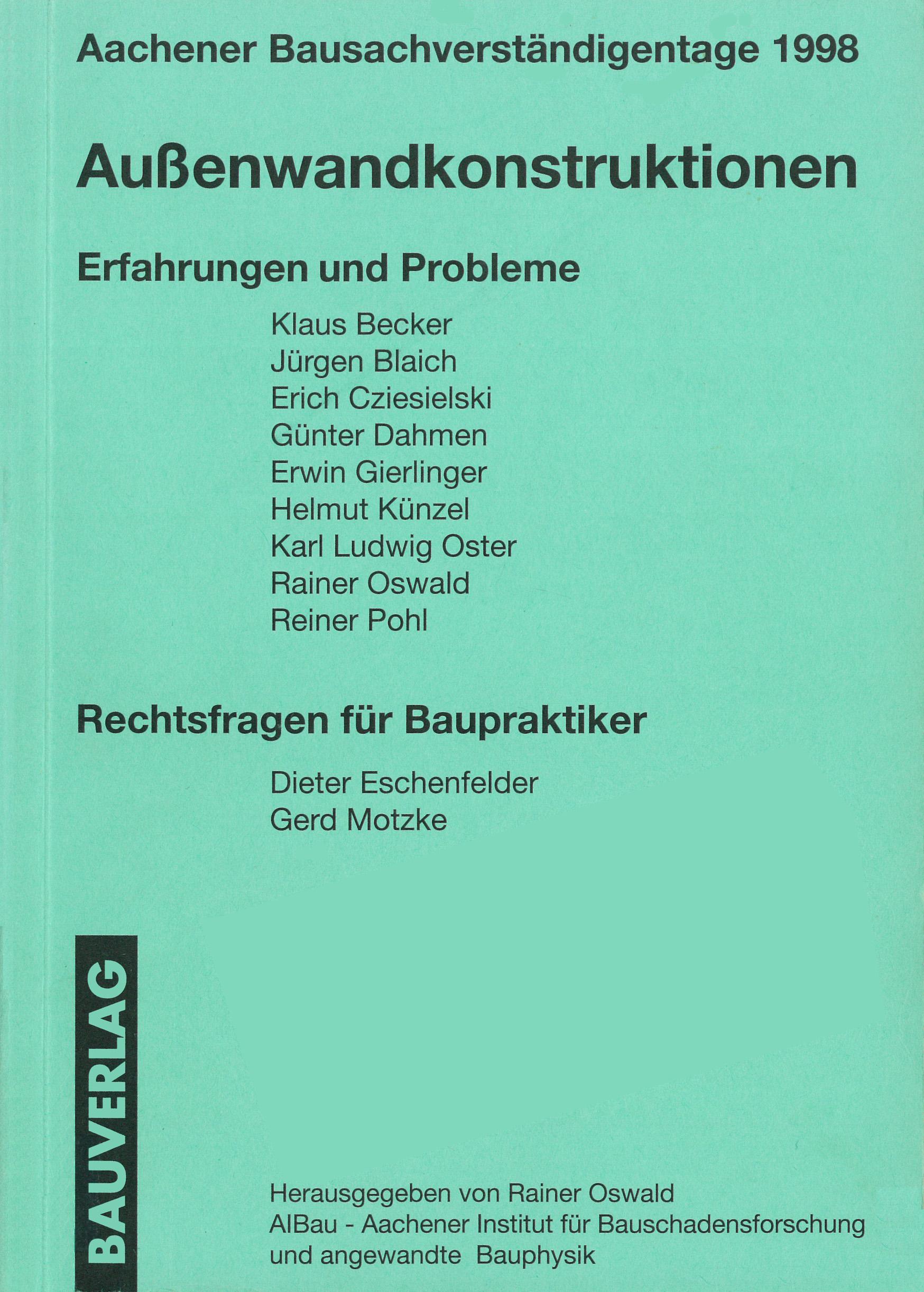 Außenwandkonstruktionen – Erfahrungen und Probleme
