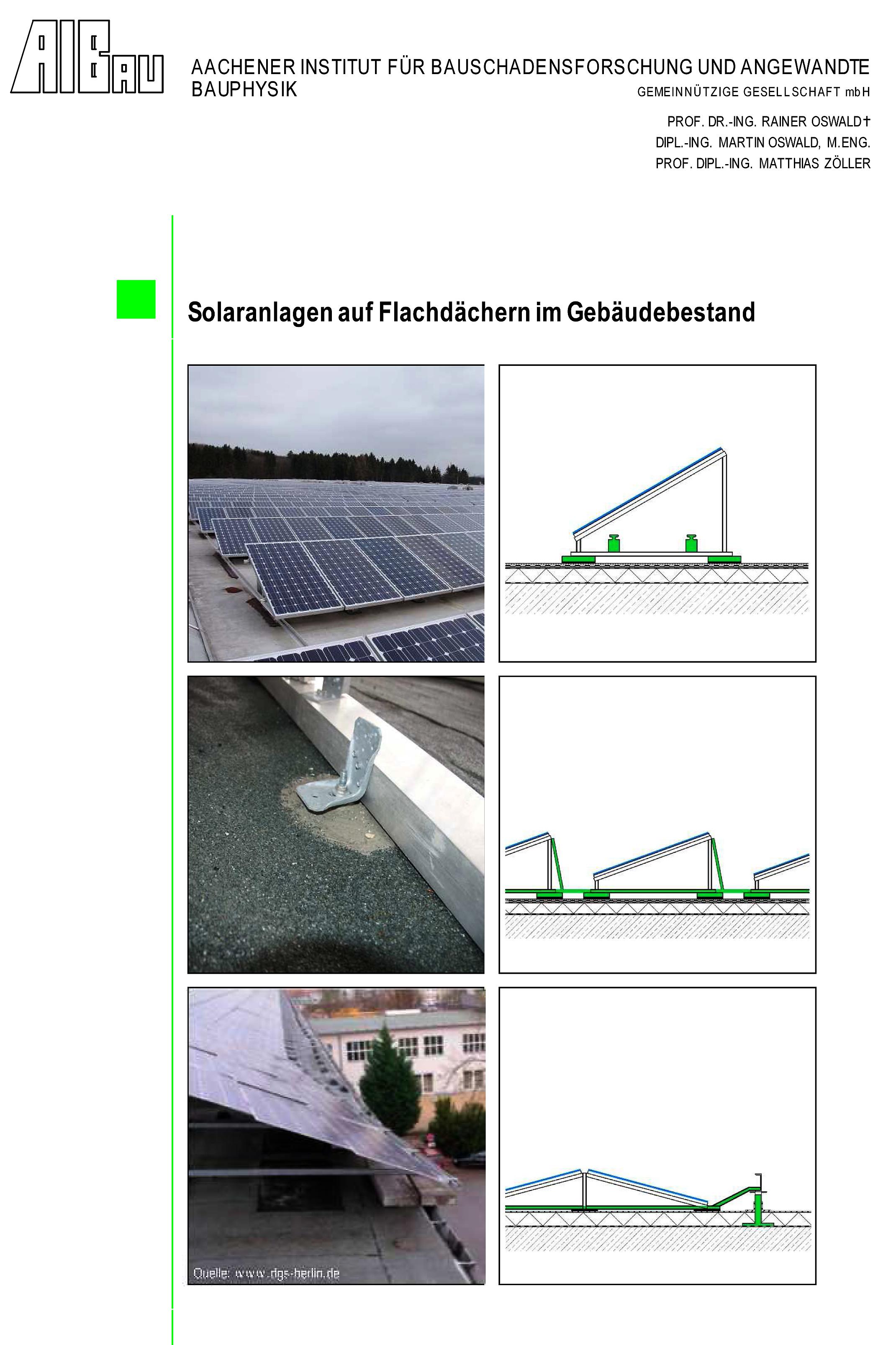 Forschungsbericht: Solaranlagen auf Flachdächern im Gebäudebestand - Coverbild